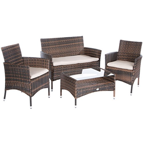 Ultranatura Rattan Set mit Glastisch, braun / beige