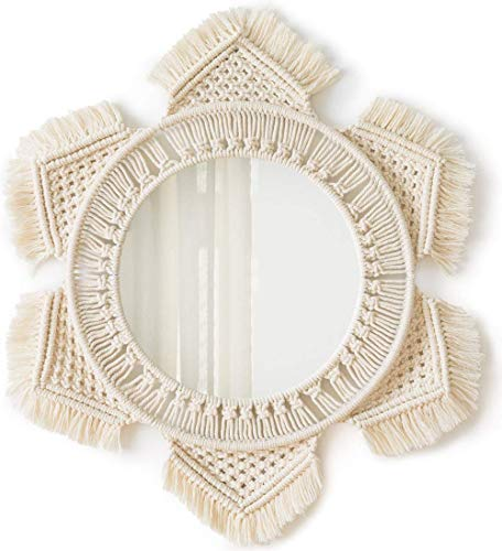 Mkouo Hängenden Wand Spiegel mit Makramee Fringe Runder Spiegel Decor for Apartment Living Room Bedroom Baby Nursery