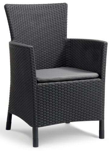 Allibert Dining Sessel Iowa mit Kissen, graphit/cool grey