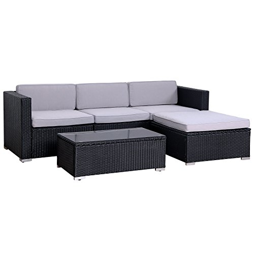 SVITA California Poly Rattan Gartenset Set Garnitur Couch Set