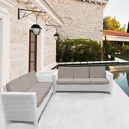 Gartenmobel Schrank Rattan : LuxuryGarden® Afef Ecke Weiß RattanSofaSet 3Sitzer Ecksofa Couch
