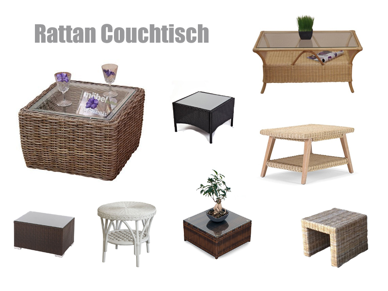 rattan couchtisch rund oder eckig. Black Bedroom Furniture Sets. Home Design Ideas