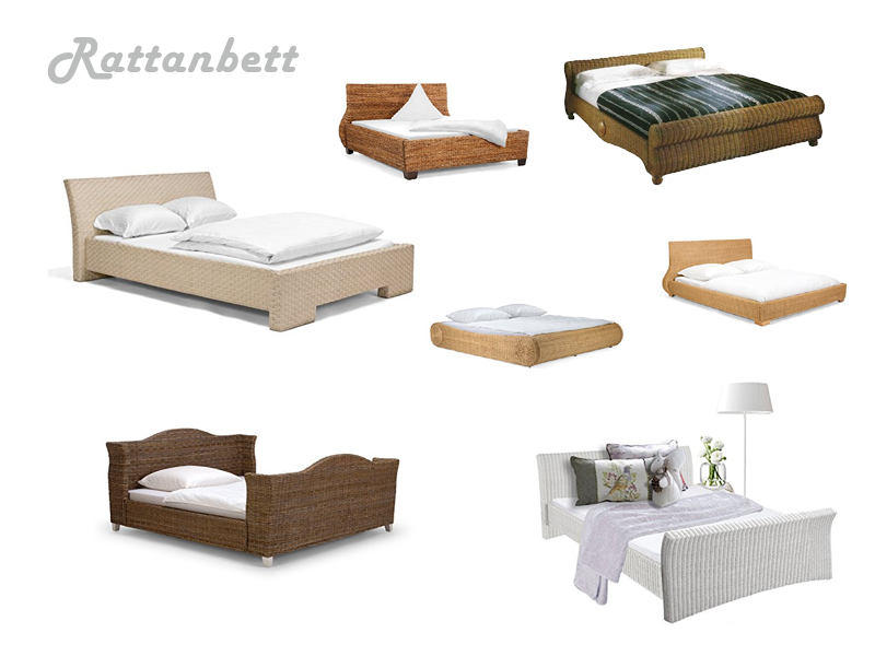 rattanbett verschiedene gr en. Black Bedroom Furniture Sets. Home Design Ideas